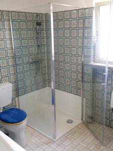 Neue Dusche mit Wandergänzung zu alten Fliesen